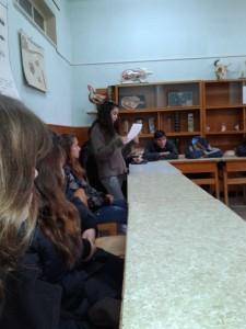 Ученици прочетоха доклад за развитието на ветеринарно-медицинското дело у нас през годините.