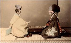 Древна рисунка, изобразяваща играта Го