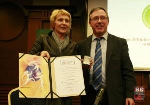 Анелия Нунева получи наградата си за Лидер в женската атлетика от Европейската атлетика лично от вицепрезидента на ЕА Жан Грасия в София