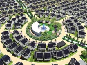 Еко град с 393 къщи с висока енергийна ефективност.
