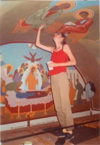 Димитрина /в червено/на купола на храма